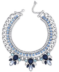 Guess Silver Tone Blue And Clear Crystal Statement Necklace