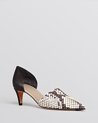 Vince Pointed Toe D'orsay Pumps Aurelian Mid Heel Black White