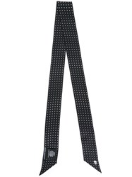 Alexander Mcqueen Skull And Polka Dot Skinny Scarf Unisex Silk One Size Black