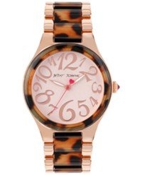 Betsey Johnson Women's Rose Gold Tone Stainless Steel And Brown Leopard Bracelet Watch 40Mm Bj00510 03