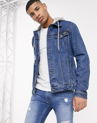 Voi Jeans Denim Jacket With Hood In Mid Blue