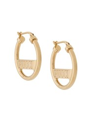 Emilio Pucci Logo Engraved Hoop Earrings Gold