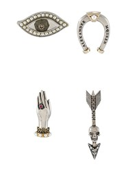 Alexander Mcqueen Four Pin Set Metallic