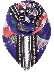 Mary Katrantzou 'Rose Garden' Scarf Pink And Purple