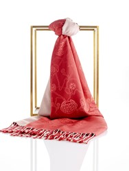 Shanghai Tang Lucky Charms Silk Pashmina Shawl With Tassel Beige