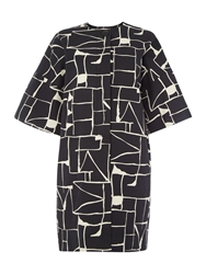 Tara Jarmon Graphic Print Collarless Coat Black