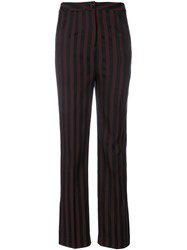Unconditional Striped Flared Trousers Black
