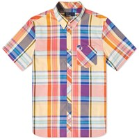 Fred Perry Madras Check Button Down Shirt Orange