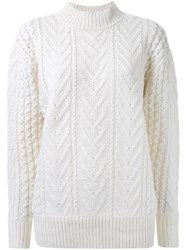 Le Ciel Bleu Cable Knit Sweater White
