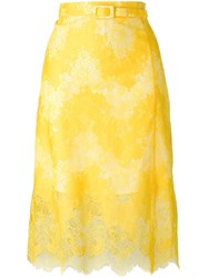Carven Belted Lace Skirt Yellow Orange