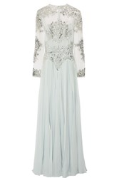 Zuhair Murad Embellished Silk Blend Tulle And Georgette Gown Sky Blue
