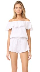 Eberjey Lucia Off Shoulder Sleep Romper White