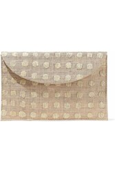 Kayu Embroidered Woven Straw Envelope Clutch Neutral
