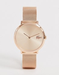 Lacoste Moon Mesh Watch In Rose Gold Pink