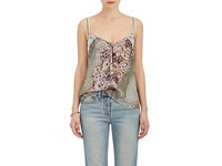 Maison Mayle Women's Carlita Floral Print Silk Satin Cami Blue Green Light Blue
