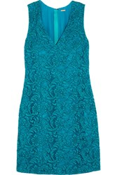 Adam By Adam Lippes Corded Cotton Blend Lace Mini Dress Turquoise