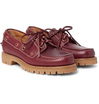 Gucci Leather Boat Shoes Burgundy