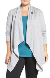 Bobeau Plus Size Women's One Button Fleece Cardigan Heather Grey