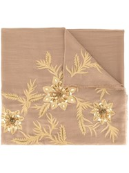 Janavi Floral Embroidered Scarf Brown