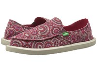 Sanuk Donna Burgundy Multi Radio Love Women's Slip On Shoes Red