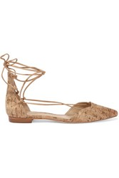 Schutz Neida Cork Point Toe Flats Light Brown
