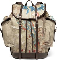Dries Van Noten Printed Twill And Leather Backpack Tan