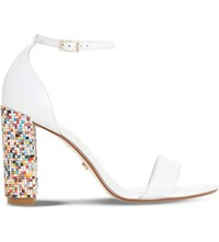 Dune Millionss Leather Heeled Sandals White Leather