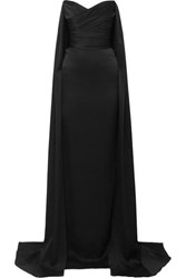 Alex Perry Fletcher Strapless Draped Satin Crepe Gown Black