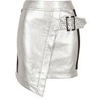 River Island Womens Silver Faux Leather Studded Wrap Mini Skirt