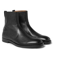 Mccaffrey Pebble Grain Leather Zip Up Boots Black