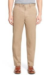 Nordstrom Big And Tall Men's Shop Smartcare Tm Classic Supima Cotton Flat Front Trousers Tan Desert