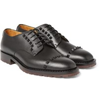 Valentino Studded Leather Derby Shoes Black