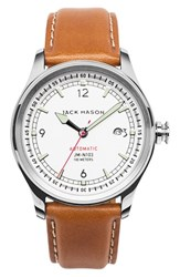Jack Mason Brand Men's Nautical Automatic Leather Strap Watch 42Mm White Tan