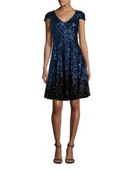 Badgley Mischka Ombre Sequin Cocktail Dress Blue