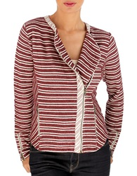 Lucky Brand Asymmetrical Zip Jacket Red White