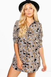 Boohoo Paisley Print Shirt Dress Black