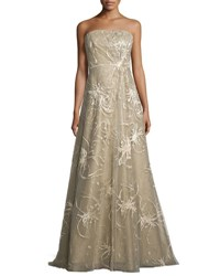 Rene Ruiz Strapless Embroidered Splatter A Line Gown Gold