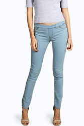 Boohoo Pull On Blue Wash Jeggings Pale Blue