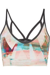 Bodyism I Am Calm Mesh Paneled Printed Stretch Jersey Sports Bra Pastel Pink
