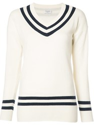 Frame Denim V Neck Jumper White