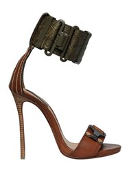 Dsquared 120Mm Crocodile Embossed Leather Sandals