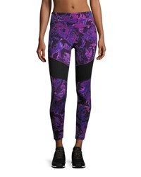 The North Face Motivation Mesh Performance Leggings Wood Violet Roses Print Purple Pattern