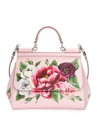 Dolce And Gabbana Sicily Medium Floral Leather Top Handle Bag Pink Pattern