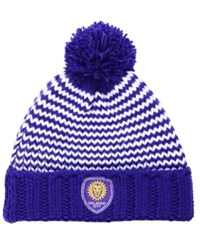 Adidas Women's Orlando City Sc Jacguard Pom Knit Hat Purple