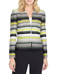 Tahari By Arthur S. Levine Striped Open Front Jacket Grey Black Yellow