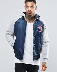 Majestic Yankees Satin Jacket With Hood Navy Black
