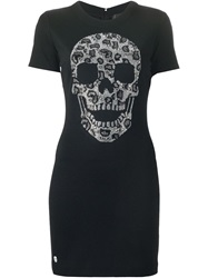 Philipp Plein Embellished Skull T Shirt Dress Black