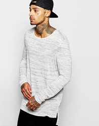 Asos Super Longline Long Sleeve T Shirt With Drape Neck And Stepped Hem In Grey Greymarl