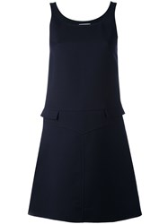 Courreges Sleeveless Double Pocket Dress Women Silk Polyester Wool 40 Blue
