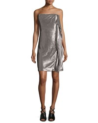 Halston Heritage Strapless Sequin Dress W Side Ruffle Taupe Silver